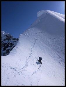 Jake on the corniced West Ridge of Mt Hunter